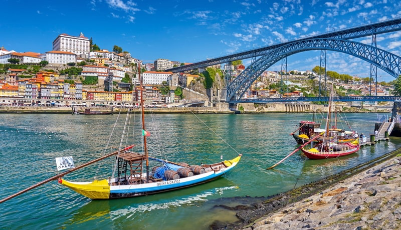 Traditional Rabelo Boats, Porto, Portugal.