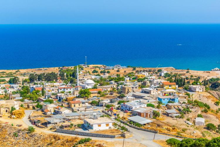 Aerial view of Kaplica village in Northern Cyprus.