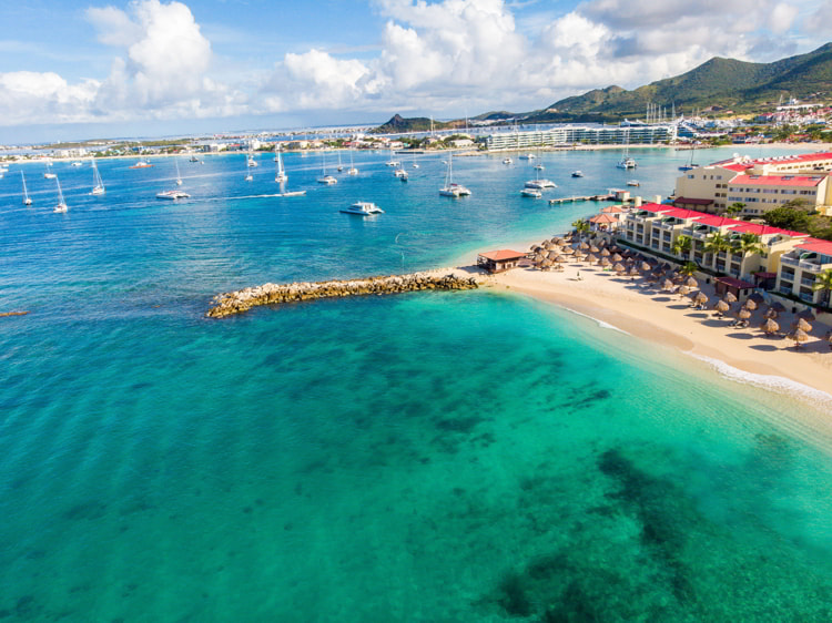 The Caribbean island of St.Maarten landscape and Cityscape