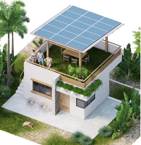 Render of a house in Eco Village Asuchillo, Nicaragua